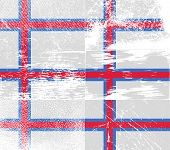 image of faroe islands  - Flag of Faroe Islands with old texture - JPG