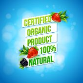 stock photo of 100 percent  - Certified Organic Product 100 percent Natural promotional advertising poster vector design on a textured blue bokeh background with fresh strawberries and blackberry - JPG