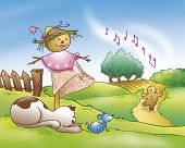 image of scarecrow  - A cat is catching a mouse near a funny scarecrow - JPG