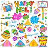 picture of drum-set  - illustration of set of Holi element in Indian kitsch style - JPG