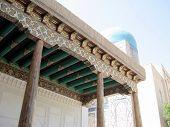 stock photo of mausoleum  - The painting on wood by Ensemble of mausoleums Shakhi - JPG