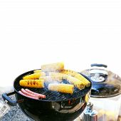 picture of corn cob close-up  - Grilled Corn bbq close up shot barbecue - JPG