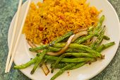 image of sauteed  - Chinese sauteed string beans in a brown oyster sauce with pork fried rice - JPG