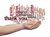 stock photo of appreciation  - Concept or conceptual abstract thank you word cloud held in hands different language - JPG