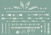 stock photo of feathers  - Hand drawn vintage arrows feathers dividers and floral elements vector illustration - JPG