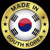 image of seoul south korea  - Made in South Korea gold badge and icon with central glossy South Korean flag symbol and stars - JPG