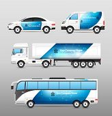 foto of transportation icons  - Transport advertisement design blue template decorative icons set isolated vector illustration - JPG