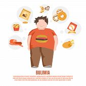 stock photo of food groups  - Bulimia support group concept with fat young man and unhealthy food flat vector illustration - JPG