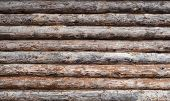 stock photo of log fence  - Old wooden log house wall background texture - JPG