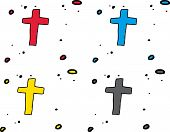 picture of crucifix  - Hand drawn crucifix symbols over white background - JPG