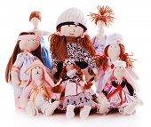 image of rag-doll  - Handmade dolls isolated on white - JPG