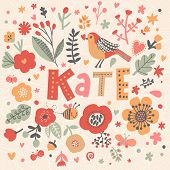 Bright card with beautiful name Kate in poppy flowers, bees and butterflies. Awesome female name des poster