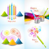 stock photo of dharma  - vector set of different colors of holi designs  with pichkari  - JPG