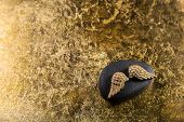 foto of deceased  - Stone with golden wings for a elegant background - JPG