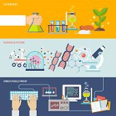 stock photo of experiments  - Science and research horizontal banner set with experiment irrefutable proof and future flat elements isolated vector illustration - JPG