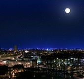 picture of infirmary  - View over the rooftops towards Glasgow Royal Infirmary at night - JPG