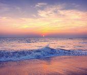 stock photo of nightfall  - Sunset Twilight Dusk Beach Wave San Concept - JPG