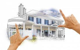 picture of combinations  - Hands Framing House Drawing and Photo Combination on White - JPG