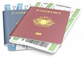 stock photo of boarding pass  - Red and Blue Passports and Boarding Pass - JPG