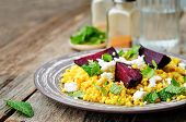 pic of millet  - spiced millet porridge with beetroot coriander mint and feta - JPG
