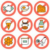 stock photo of milk products  - Set of modern cartoon hand drawn icons with products containing animal protein and prohibited for vegans - JPG