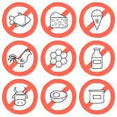 pic of milk products  - Set of modern cartoon outline hand drawn icons with products containing animal protein and prohibited for vegans - JPG