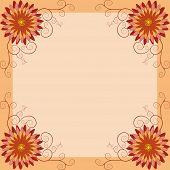 pic of chrysanthemum  - Background with orange red yellow flower chrysanthemum and swirl - JPG