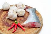 picture of pangasius  - Pangasius or Vietnamese catfish in the kitchen in a white background - JPG