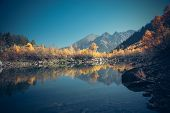 pic of mountain-high  - Scenery of high mountain with lake and high peak on a clear day - JPG