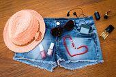 stock photo of beanie hat  - Summer women - JPG