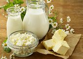 image of milk products  - assortment of dairy products  - JPG