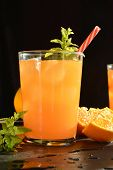 pic of vodka  - refreshing drink orange and mint with a little vodka - JPG