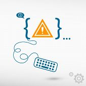 image of attention  - Attention caution and flat design elements - JPG