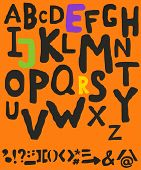 picture of punctuation  - Hand drawn alphabet and punctuation symbols with inaccurate lines - JPG