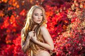 stock photo of chest hair  - young woman on a background of red and yellow autumn leaves with beautiful curly hair on his chest, with no clothes ** Note: Soft Focus at 100%, best at smaller sizes - JPG
