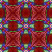 pic of symmetrical  - Symmetrical multicolored flower pattern in stained - JPG