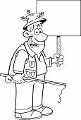 image of rod  - Black and white illustration of a fisherman holding a fishing rod and a sign - JPG