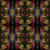 picture of symmetrical  - Beautiful symmetrical background from fractal tracery - JPG