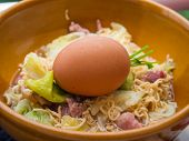 picture of boil  - Boiled of the Instant noodles with Boiled eggs that are not peeled - JPG