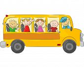 pic of bus driver  - Vector illustration of Happy children cartoon on school bus - JPG