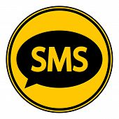 foto of sms  - Sms button on white background - JPG