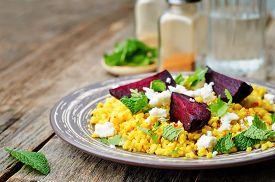 image of millet  - spiced millet porridge with beetroot coriander mint and feta - JPG