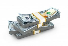 stock photo of 100 dollars dollar bill american paper money cash stack  - Creative abstract business financial success and making money concept - JPG