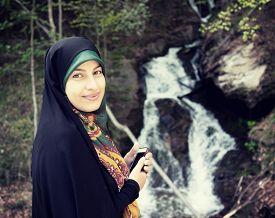 picture of muslim  - Beautiful Muslim woman with scarf - JPG