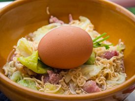 image of boil  - Boiled of the Instant noodles with Boiled eggs that are not peeled - JPG