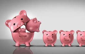stock photo of budget  - Business diversification concept as a financial growth strategy for new markets for investment growth as an open piggy bank with a group of smaller piggybanks as a metaphor for growing wealth or budget costs and inflation symbol - JPG