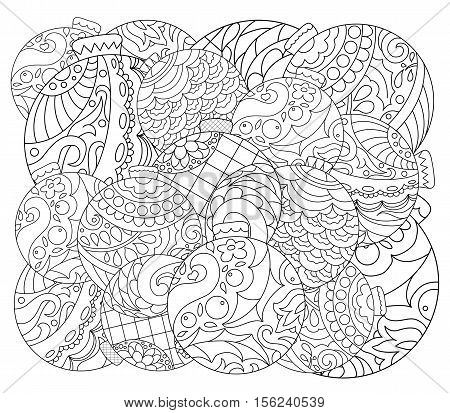 Christmas Tree Ornament Adult Coloring Page Vector With Fir Hand