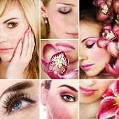 image of beautiful face  - Collage of several photos for fashion and beauty industry - JPG