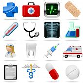 stock photo of medical  - Medical icons and symbols vector set isolated on white - JPG
