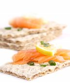 stock photo of wasa bread  - crispy bread sandwiches  - JPG